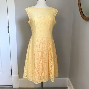 London Times yellow lace dress
